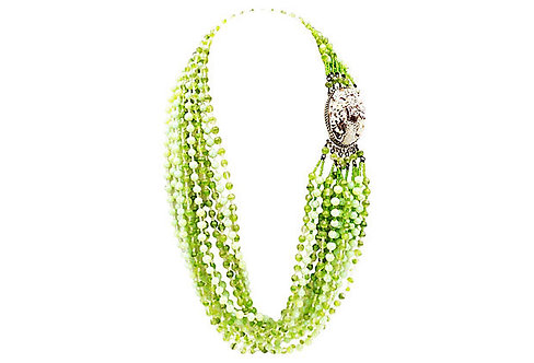 1960s Ornella Italy Green Beaded Necklace