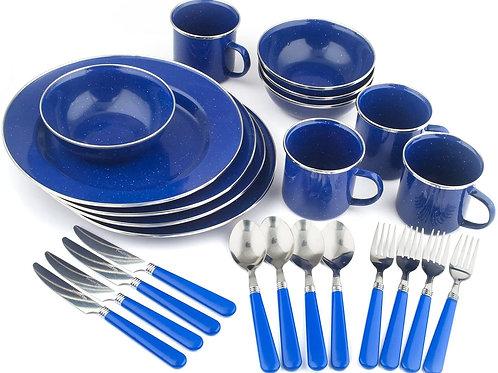 STANSPORT Deluxe 24Piece Enamel 식기 세트 : 접시, 그릇, 머그컵기구