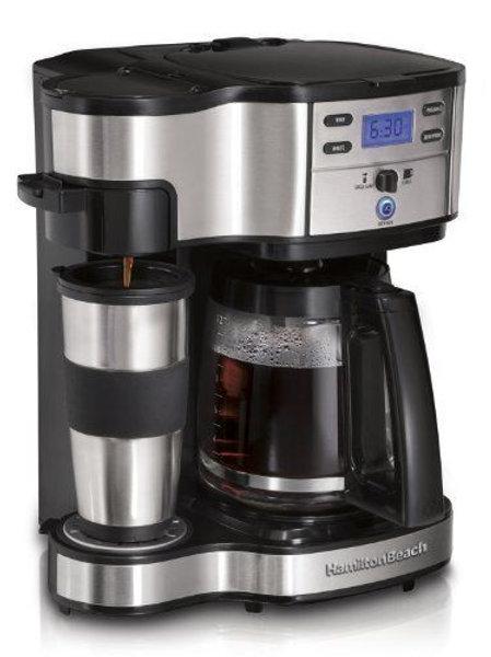 해밀턴 2웨이 커피메이커 한쪽에 커피를 작은 쪽에는 녹차를 한번에 내릴수 있는 제품