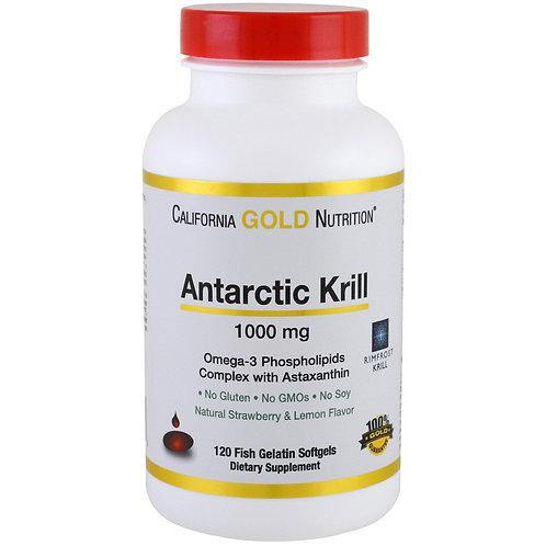 캘리포니아 골드 영양, 남극 크릴 오일, Astaxanthin, RIMFROST, 천연 딸기 & 레몬 맛, 1000 mg, 120 피쉬 젤라틴
