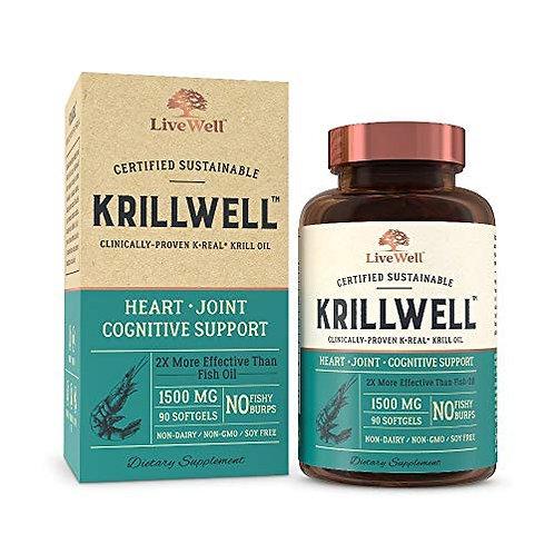 KrillWell 크릴오일 A등급-심장, 관절, 인지 지원 지속 가능하고 임상적으로 입증된 K-Real 크릴오일 2배 30일