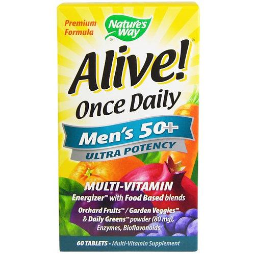 Alive! 원스 데일리(Once Daily), 맨즈 50+, 울트라 포텐시, 멀티 비타민
