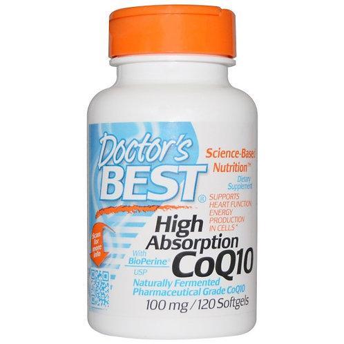 Doctor's Best, 높은 흡수력 코큐텐, 바이오페린과 함께, 100 mg, 120소