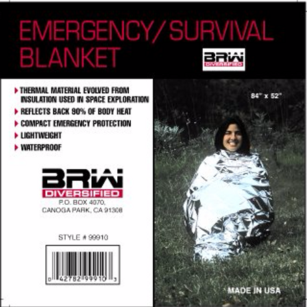 "BRW Emergency/Survival Blankets 84"" x 52"""