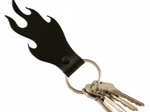 Red Flame Zipper Pull - Leather-Optional