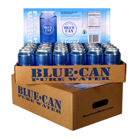 Blue Can Emergency Water - 24 cans/case • 50+ Yr shelf life