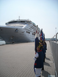 Welcoming a cruise ship in New London