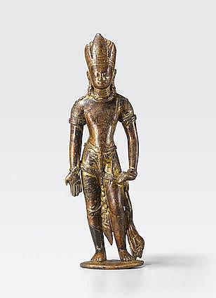 A COPPER FIGURE OF AVALOKITESHVARA Nepal, 7th/8th century