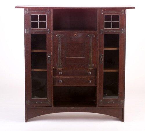 GUSTAV STICKLEY Fine and rare desk/bookcase designed by Harvey Ellis