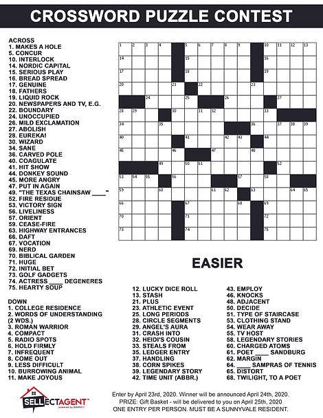 Crossword Puzzle Contest April 23rd - Ea