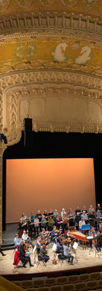 A view from of the stage from the balcony in the Vichy opéra