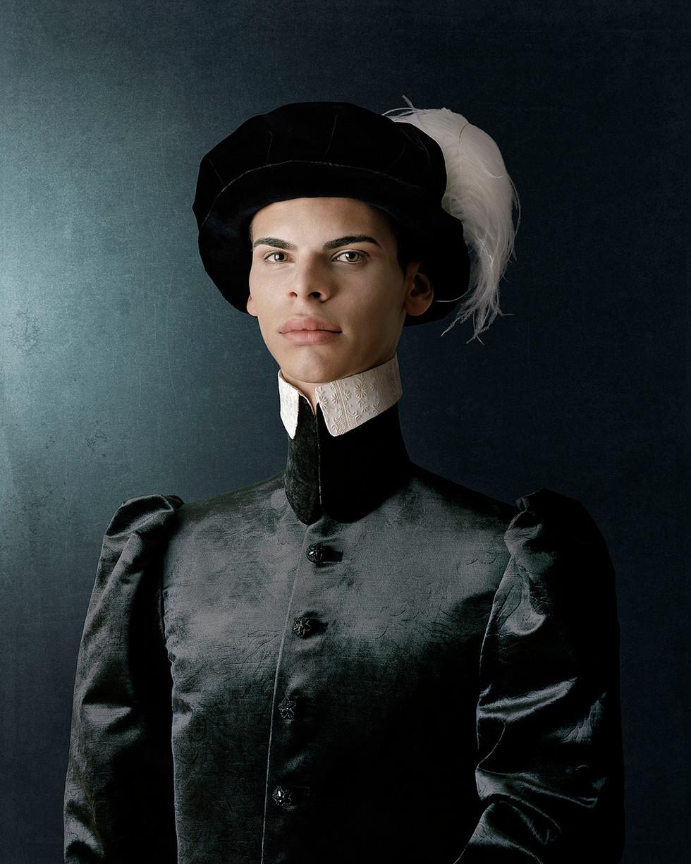 1503, Ritratto di giovane uomo con cappello piumato