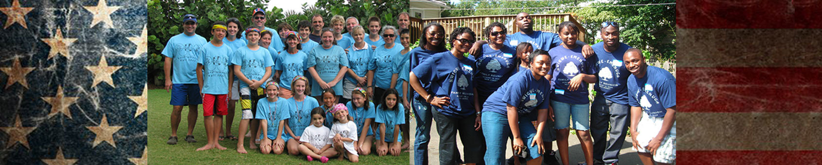 combo photo of Nwigwe family and Wittenmire family reunion t-shirts.