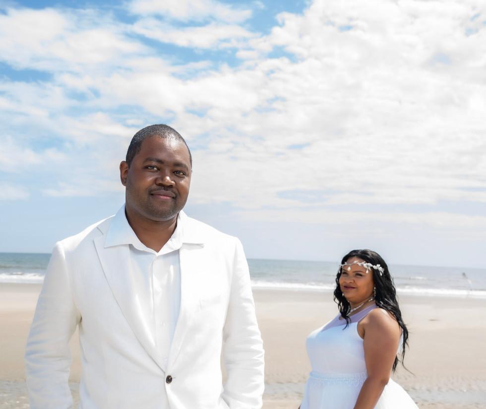 All White Beach Wedding in North Carolina