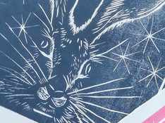 Lino print: Star struck hare
