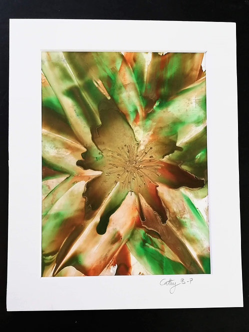Green and bronze encaustic wax lily