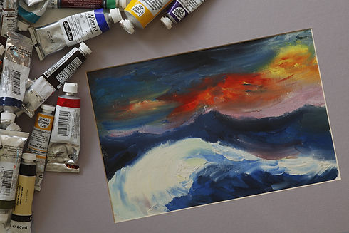 Paint and acrylic landscape painting.