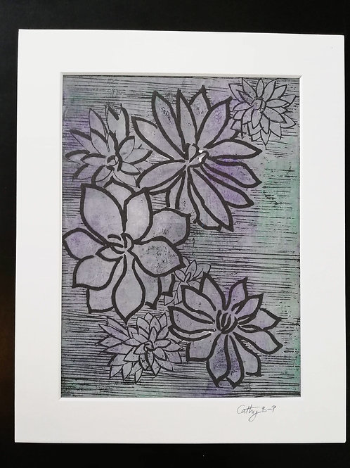 Sedums - linocut print