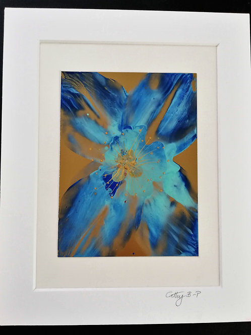 Blue and gold encaustic wax flower