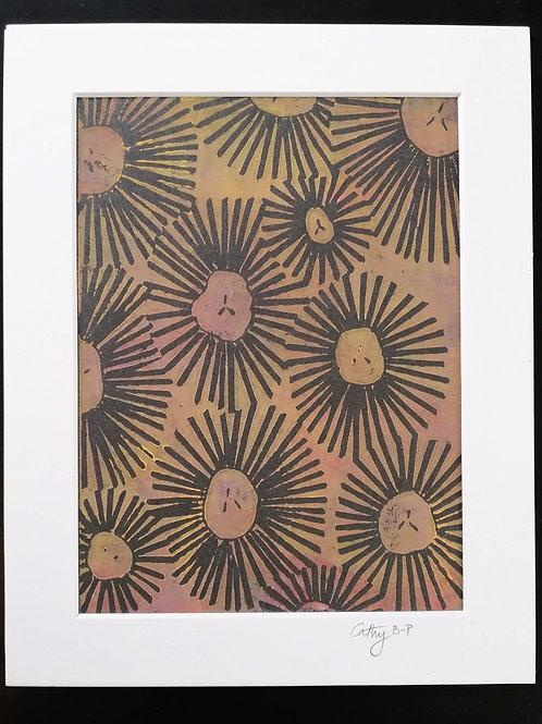 Seed heads in black - linocut print