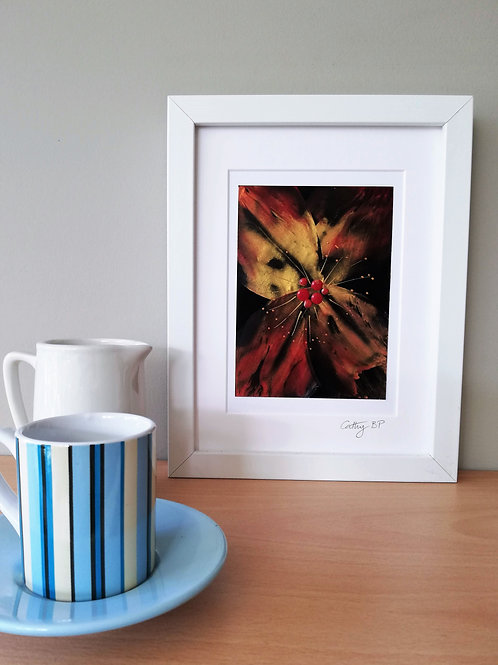 Unique encaustic wax flower - mounted and framed