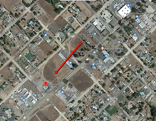 Ariel Map of Ramona, CA wih redarrow pointing to propertyfor sale.
