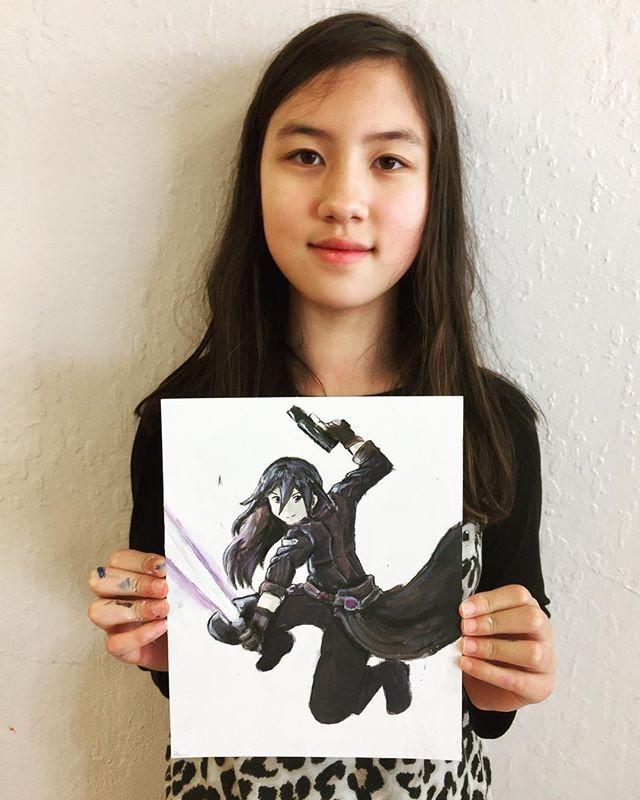 Manga figure in foreshortening, drawn fr