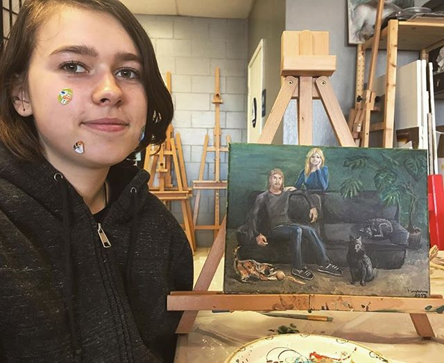 Yaroslava's first commission_ portrait of a man, his daughter and their 3 pets