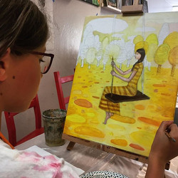 Vera's painting a Klimt-inspired composi
