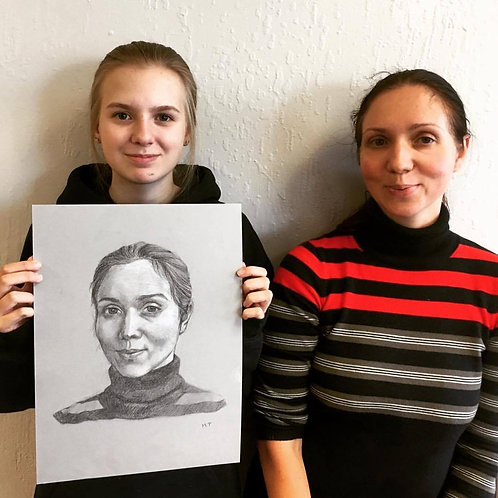 Charcoal Portrait from Photograph