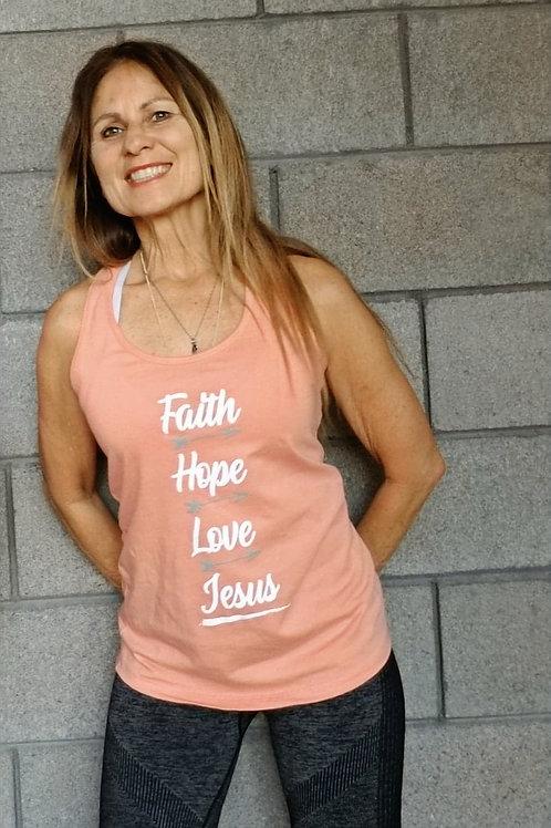 Faith Hope Love Jesus Racerback Tank