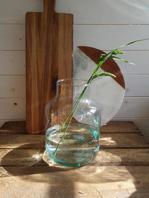 BLUE GLASS STEMMED VASE - MEDIUM