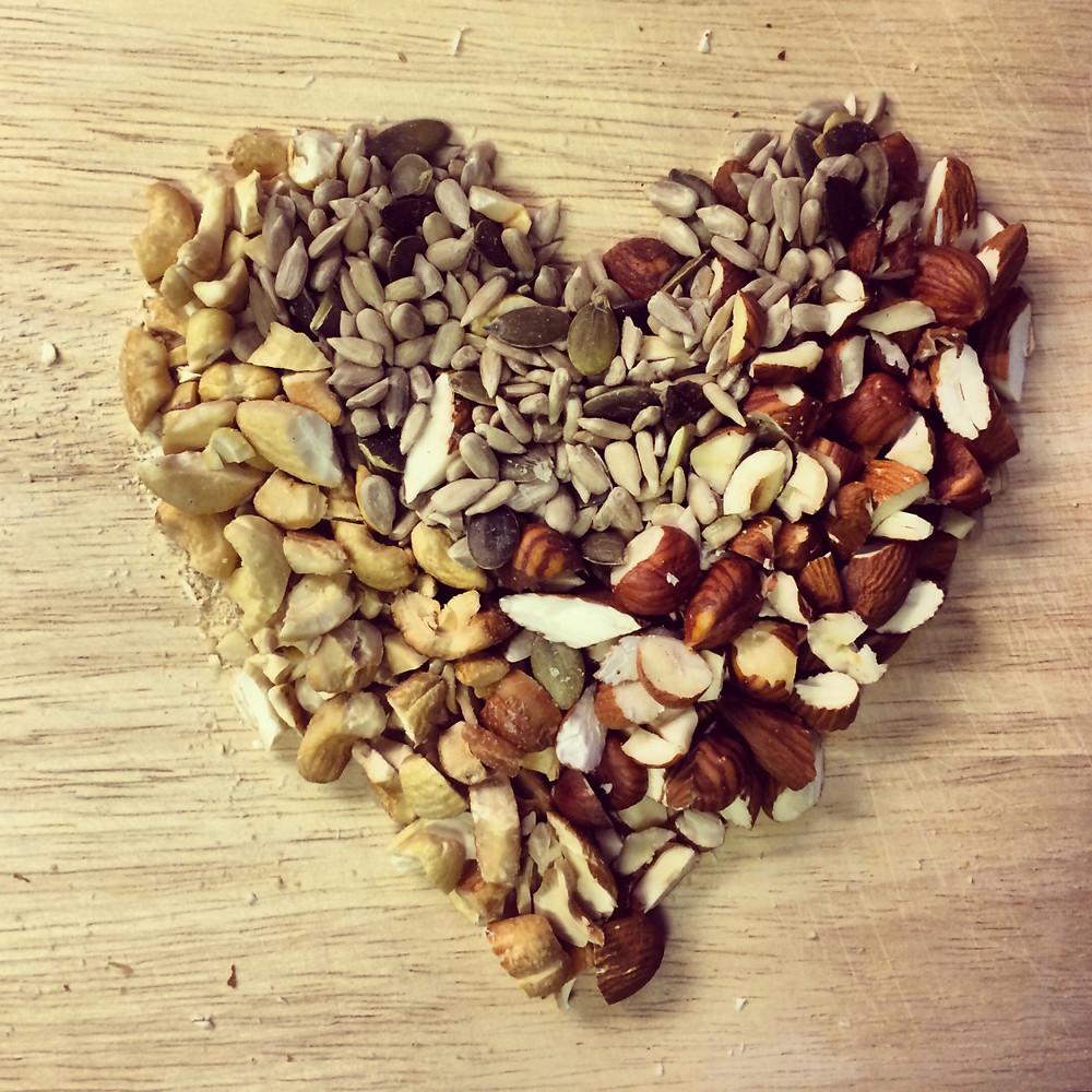 nuts and seeds in shape of a heart