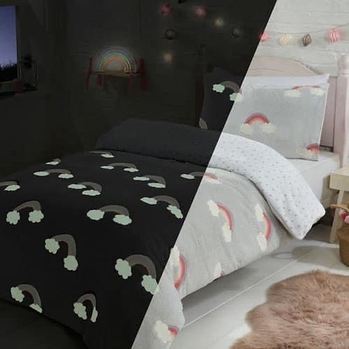 Glow in the daek rainbow teddy bedding