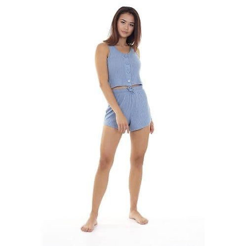 Blue ribbed button up cropped lounge set
