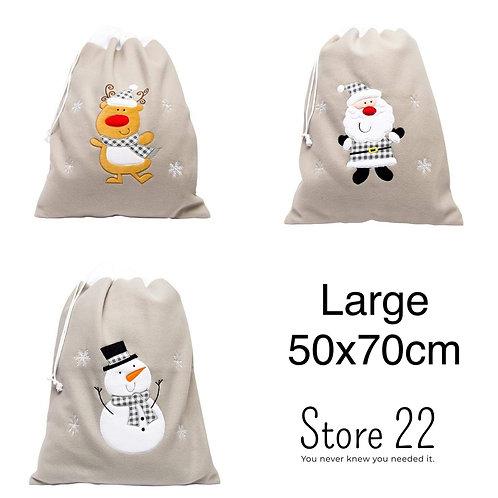 Large plush silver Christmas sack