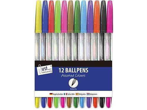 Pack of 12 coloured ballpens