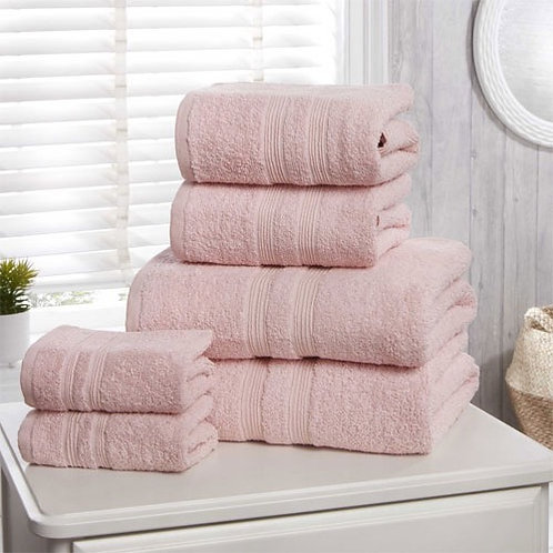 6pc blush cotton towel bale.