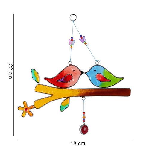 Lovebirds on a branch suncatcher