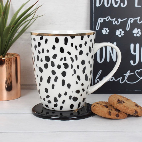 Dotty dog lady mug set