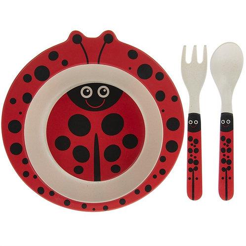 Bamboo ladybird eating set