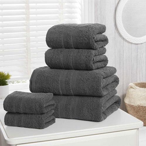 6pc charcoal cotton towel bale.