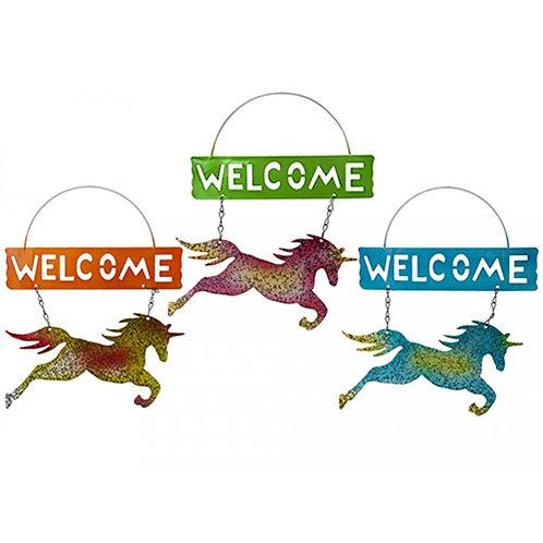 Metal unicorn welcome sign