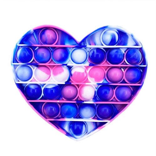 Heart tie dye pop fidget toy