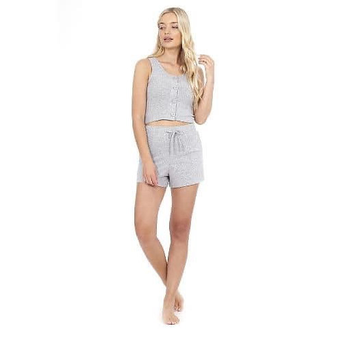 Grey ribbed button up cropped lounge set