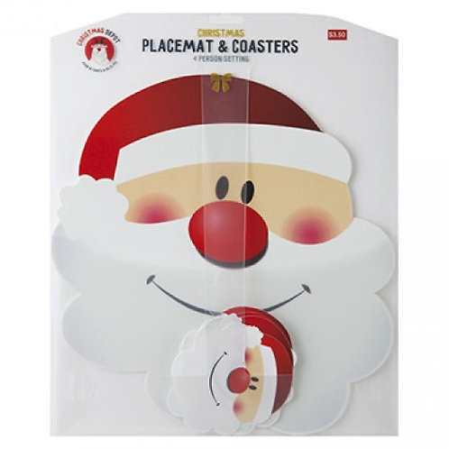 Set of 4 Santa head placemats and coasters.