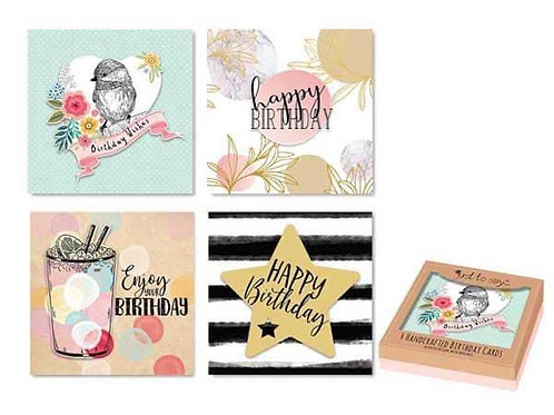 Pack of 4 handcrafted birthday cards