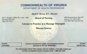 Board of Nursing License to Practice as a Massage Therapist