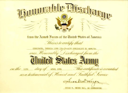 Honorable Discharge from the United States Army