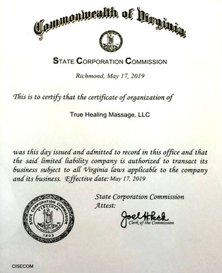 State Corporation Commission Certificate of Organization